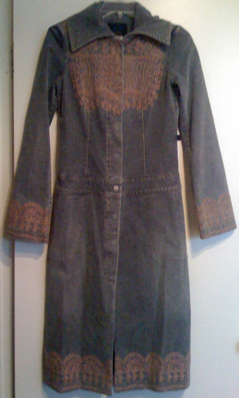 CHRISTIAN LACROIX jeans denim long COAT embroidered Euro 36 NEW HTF RARE $2,400+