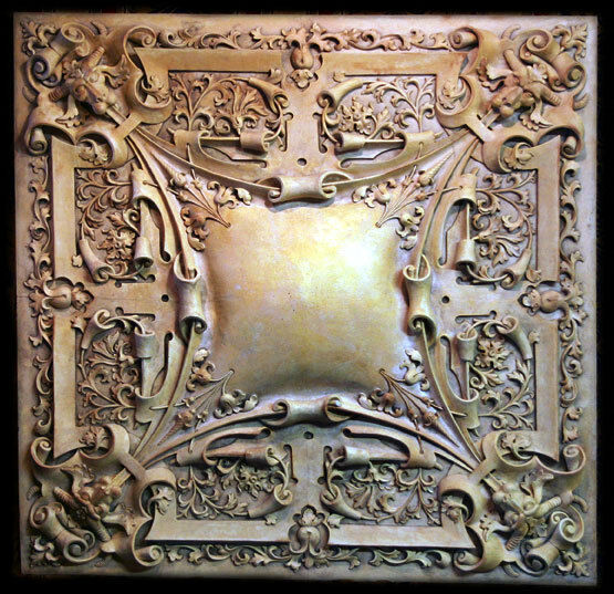 Primary image for Large Gothic Medallion Ceiling Chandelier or Wall Relief Sculpture Plaque