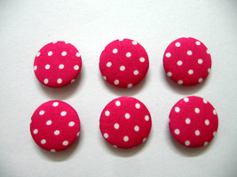 Fabric Buttons - White Polka Dot Print On Pink Set Of 50  - $20.00