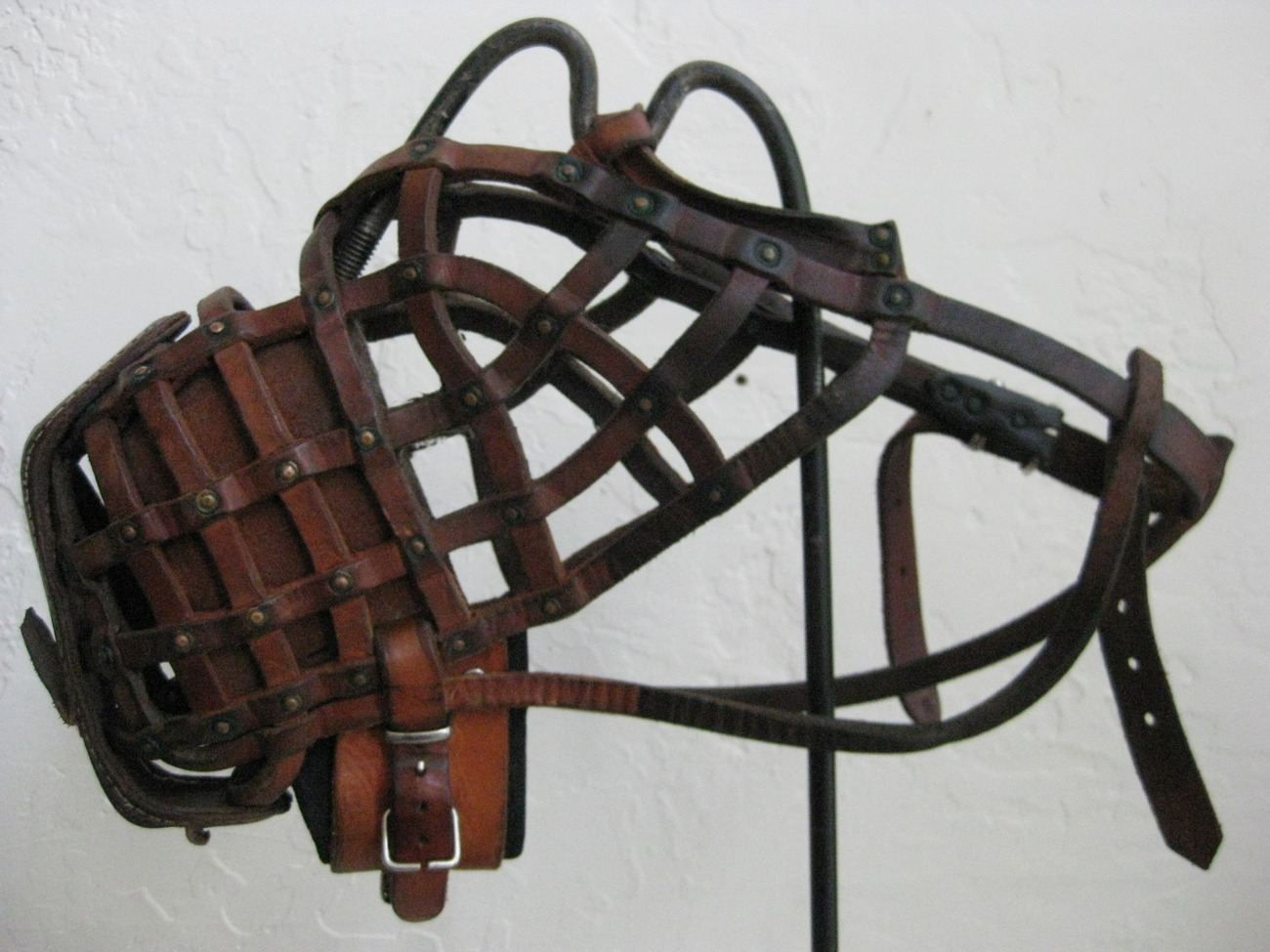 Crude Handmade Leather Copper Dog Muzzle Collar Custom With Stand c1978