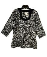HBA Womens Jeweled Black Leopard Print Side Zip 3/4 Sleeve Cotton Top Si... - $18.67