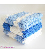 "3 Dishcloths 8"" Cotton Crochet Blue Beach Wide Stripe HotPads Washcloth ... - $9.99"