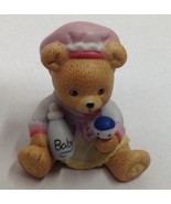 1996 Bronson Collectibles Figurine Baby Bear Holding Bottle And Rattle - $5.93