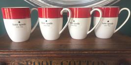 NWT Kate Spade New York Lenox Rutherford Circle Red Coffee Cup/Mug Set of 4 - $82.96
