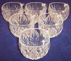 Vintage Lot of SIX 6 Square Rim Cut Glass Punch Cups Glasses, 3.5 oz. - $16.99