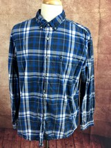 American Eagle Outfitters Athletic Fit Button Down Blue Plaid Shirt Men'... - $13.85