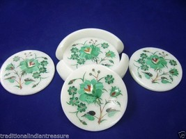 Marble Tea Coffee Coaster Set Malachite Stone Marquetry Inlay Collectible Gifts - $235.04