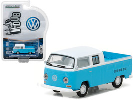 1968 Volkswagen Type 2 T2 Crew Cab Pickup White and Blue 1/64 Diecast Model Car  - $13.99
