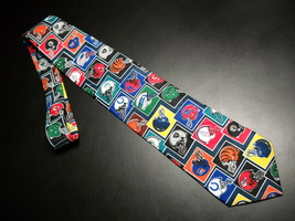 Ralph Marlin Neck Tie Multi Color NFL Football Helmets on Dark Blue Made... - $11.99