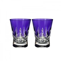Waterford Lismore Pops Purple Double Old Fashioned DOF Pair # 40019537 - $155.68