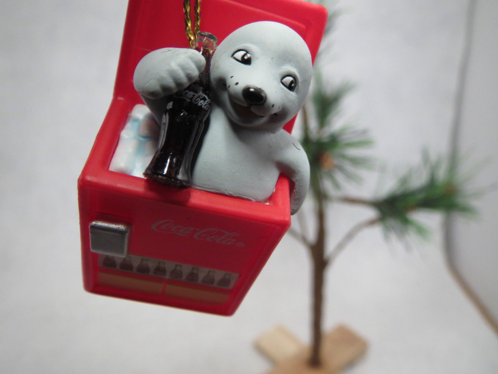 Cute 1999 Coca Cola Coke Baby Seal in Ice Chest Bottle Cooler Christmas Ornament