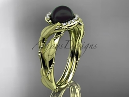 Vine and leaf black pearl engagement ring 14k yellow diamond wedding ring ABP65 - $1,275.00