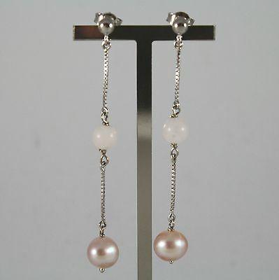 Boucles D'Oreilles or Blanc 750 18K, Pendentifs avec Perles Rose et Quartz Rose