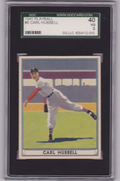 Carl hubbell 1941 play ball  6 sgc 40 vg 3
