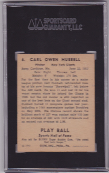 Carl Hubbell 1941 Play Ball #6 Baseball Card SGC 40 VG