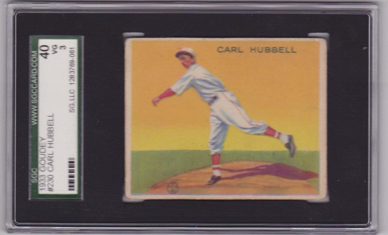 Carl hubbell 1933 goudey  230 sgc 40 vg 3