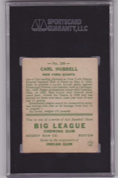 Carl Hubbell 1933 Goudey #230 Baseball Card SGC 40 VG 3