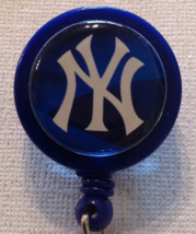 Mlb New York Yankees Badge Reel Id Holder Blue Alligator Clip Handmade New - $6.95