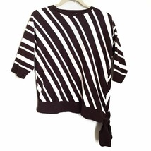 Chico's Stripe Tie Blouse L Large Brown & White 3/4 Sleeves Cotton Blend - $23.99