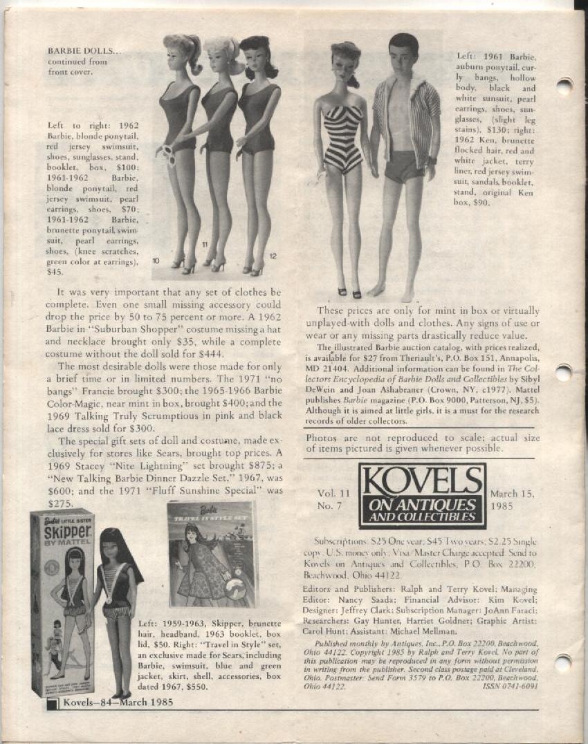 Kovels Antiques Newsletter Barbie Ken Dolls March 1985
