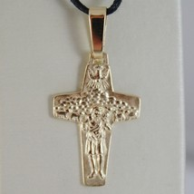 SOLID 18K YELLOW GOLD GOOD SHEPHERD POPE FRANCIS CROSS, FRANCESCO, MADE IN ITALY image 2
