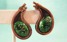 Matisse Renoir Emerald Green Enamel Copper Clip Earring Vintage Estate C... - $39.55