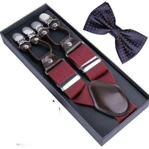 Unisex Suspender Set Width Adjustable Elastic Fashion Braces Suit Wear 125Cm