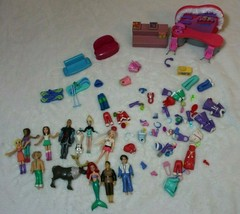 Mattel Polly Pocket Lot Dolls Clothes Ski's Olaf Elsa Kristoff Sven Ariel Eric  - $59.39