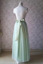 Floor Length Full Tulle Skirt Bridesmaid Long Tulle Skirt Back-bow Pastel Green  image 4