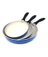 Induction Frying Pans Ceramic Skillets Set of 3 Fry Pan Cookware Coated ... - $58.49