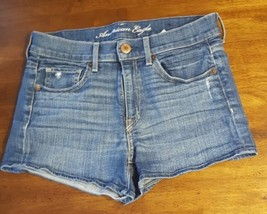 American Eagle Women's Size 6 Stretch Distressed Blue Denim Jeans Shorts - $9.49