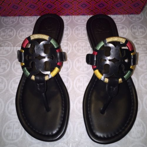 NIB tory burch Metal Miller Flip Flop sandal BLACK 9 9.5