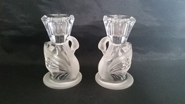 Partylite Frosted Swans Tapered Candle Candlestick Holders Crystal Glass... - $19.97