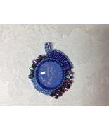Pendant Medium Size Blue Bead Embroidered Slight Oval Asymmetrical Handm... - $65.00