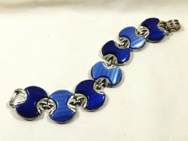 "VTG Coro signed Silver Tone Metal Blue Thermoset  link bracelet 7.5""L - $64.35"