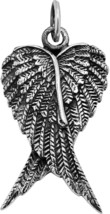 Heart Shape Angel Wings .925 Sterling Silver Pendant - $89.59