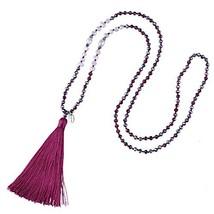 KELITCH Shell Pearl Crystal Beaded Necklace Handmade Tassels Pendants Bi... - $18.20