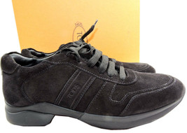 $525 Tod's Sport Sneaker Suede Black Tie Up Side Logo Athletic Shoe Flat... - $170.00