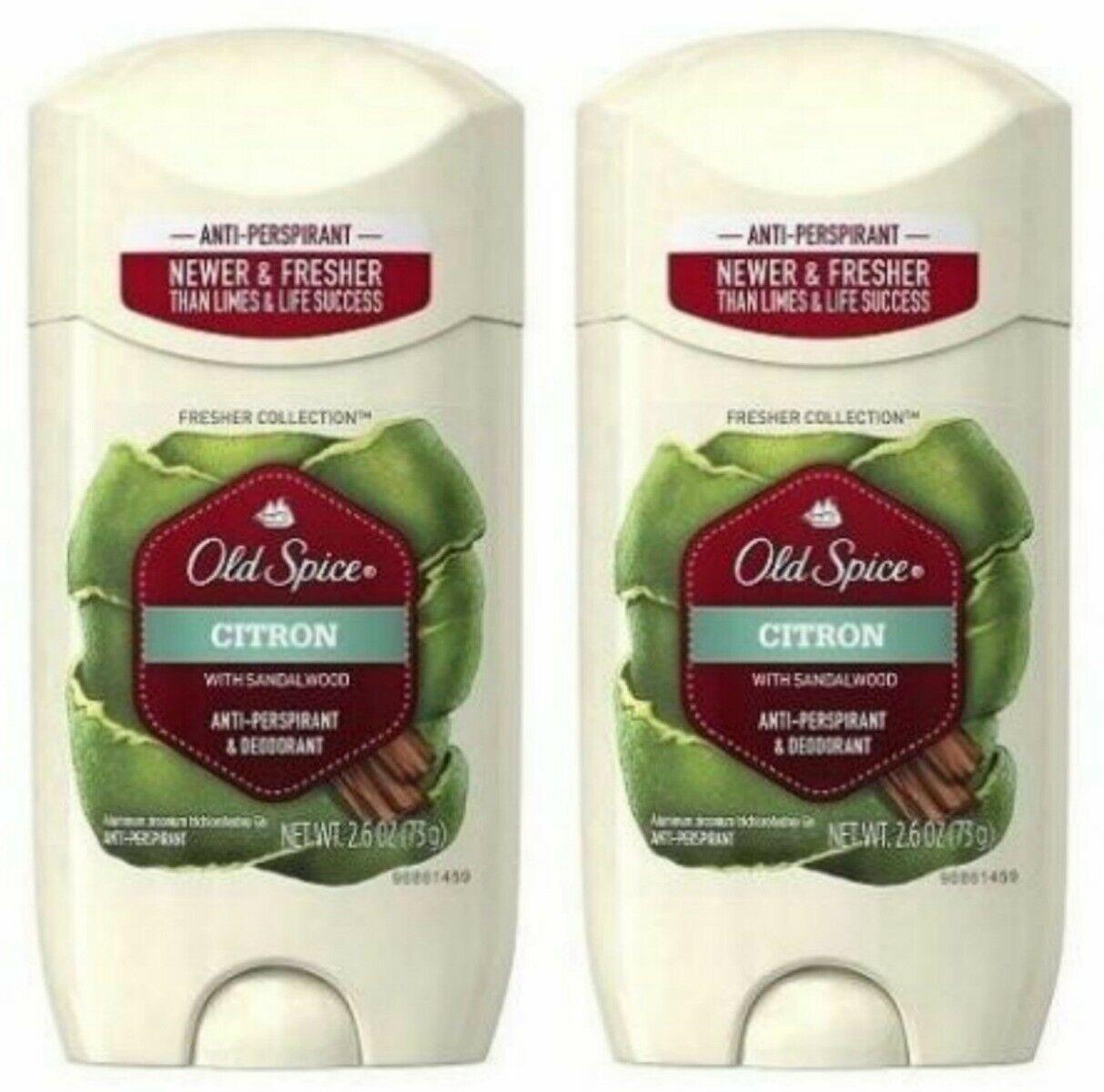 2 Old Spice Citron Sandalwood Deodorant/Anti Perspirant Mens 2.6 oz Solid Lot