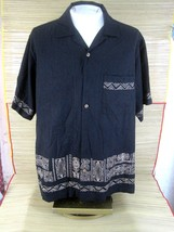 CARIBBEAN men Hawaiian ALOHA shirt pit to pit 28 XL silk blend embroider... - $16.65