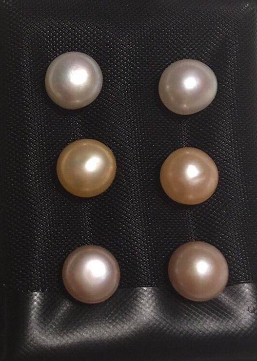 Set Of 3 Pairs 925 St Silver White Peach Lavender Pearl Stud Earrings