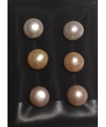Set Of 3 Pairs 925 St Silver White Peach Lavender Pearl Stud Earrings - $24.00
