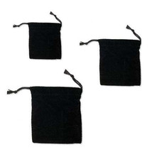 Set of 2 Black Velvet Cloth Drawstring Jewelry Gift Pouch Bags With Cinc... - $2.96 - $4.64