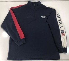 Nautica NS-83 Men's 1/4 Zip Pullover Sweatshirt Spellout Arm Patch Blue Red XL - $24.74
