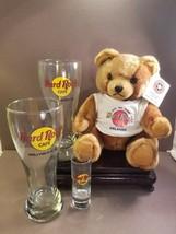 Hard Rock Cafe Two Pilsner Glasses, Ltd Ed Herrington Teddy Bear & Shot Glass - $28.85