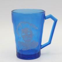 Vintage Shirley Temple Blue Glass by Hazel-Atlas Handled Mug Coffee Cup - $29.69