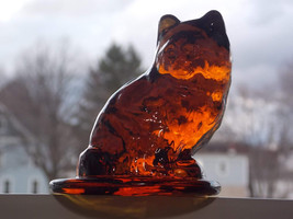 Viking Art Glass Special Pour Amber Ware Pretty Sitting Cat Paperweight #7761, B - $61.00