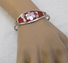 Sterling Silver Cuff Bracelet Morther of Pearl Abalone Inlay Flower Red ... - $27.26