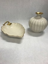 2 pc. Lenox Dish VINTAGE Trinket bud vase 24k gold trim Vanity mid century - $39.59