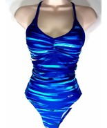 Champion One Piece Competition Swimsuit Blues Green White Racer Back Lin... - $19.99